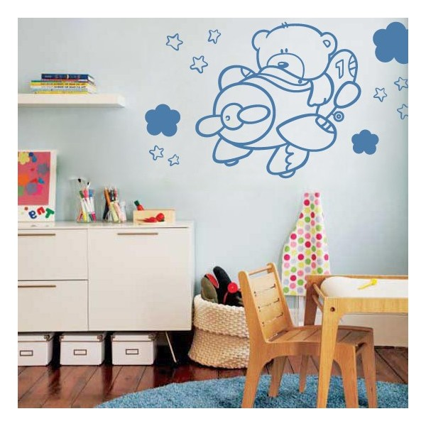 Vinilos decorativos infantiles de osito aviador pegatinas for Vinilos decorativos pared infantiles