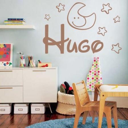 Vinilos infantiles con nombre hugo y estrellas y luna - Vinilos infantiles pared gotele ...