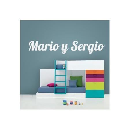 pegatinas de vinilo nombres Mario y Sergio