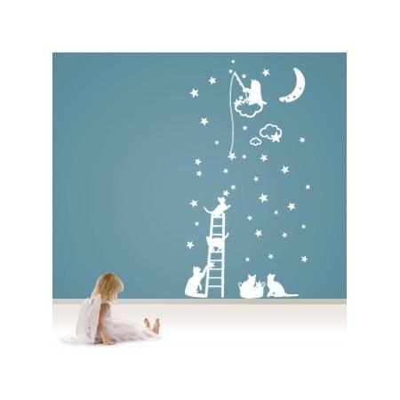 vinilos decorativos Gatitos y estrellas