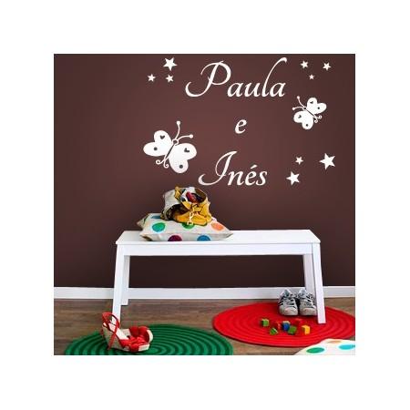 pegatinas paredes nombres Paula e Inés