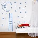 Vinilos Luna duerme escalera estrellas