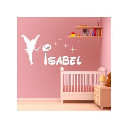 vinilos nombre Isabel con hada