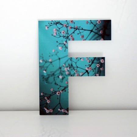 Letras Decorativas F con flores