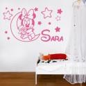 vinilo Sara en la luna con estrellas