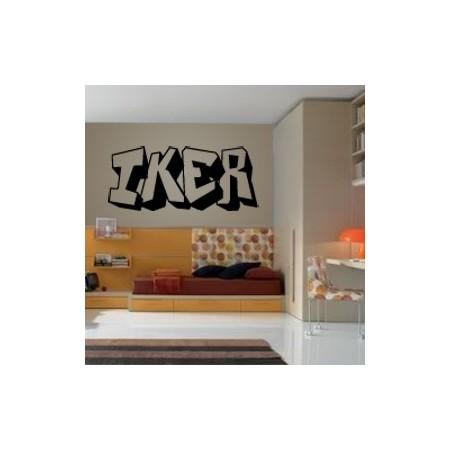 Vinilos nombre Iker graffitti