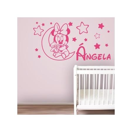 vinilo nombre Ángela en la luna con estrellas