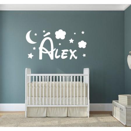 Vinilo Nombre Álex nubes estrellas luna