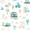 Papel Pintado Infantil coches tonos pastel