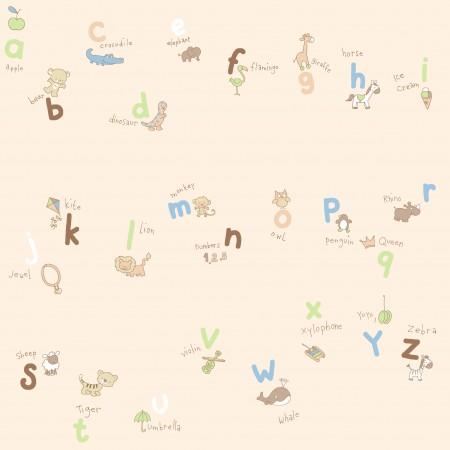 Papel Pintado Infantil abecedario y animales, fondo crema