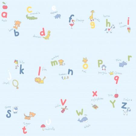Papel Pintado Azul claro con abecedario y animales