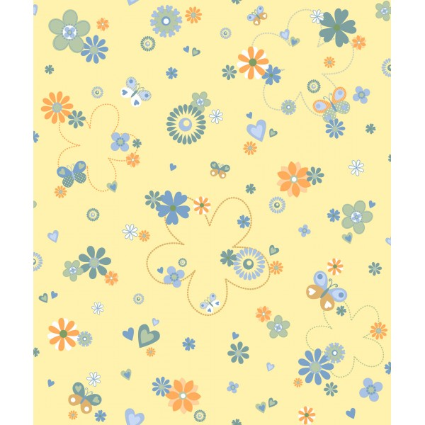 Papel Pintado Flores Infantiles Vainilla Dqcolor Es