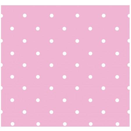Papel Pintado Infantil Rosa con topos blancos