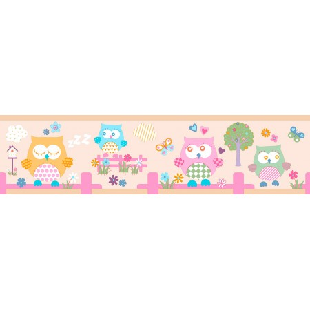 Cenefas adhesivas de buhos y árboles infantiles en tonos pastel