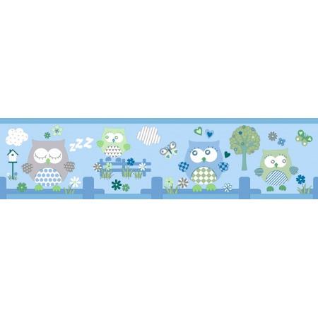 Cenefas adhesivas de buhos y árboles infantiles en tonos azules