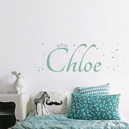 Vinilos nombre Chloe corona estrellitas