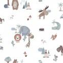 Papel Pintado Infantil de Animalitos azulones