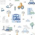 Papel Pintado Infantil coches en ciudad multicolor