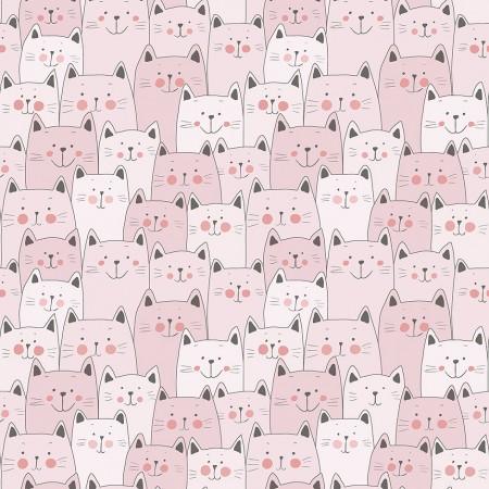Papel Pintado Infantil gatitos rosas