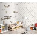 Papel Pintado Infantil aviones vintage beige foto ambiente