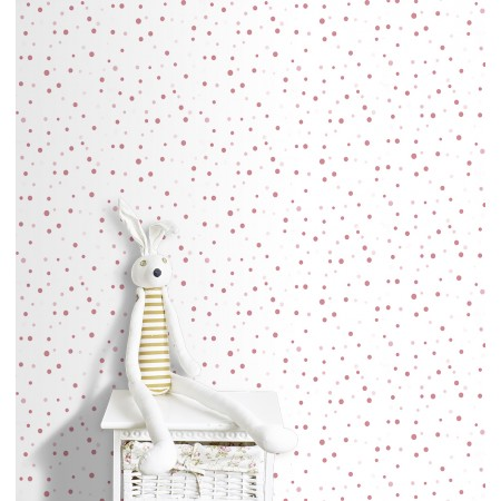 Papel Pintado Infantil circulitos rosas