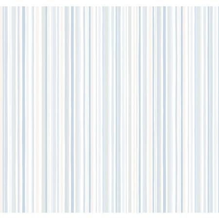 Papel Pintado Infantil de rayas finas multicolor en tonos Azules
