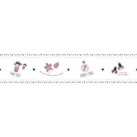 Papel Pintado Cenefa Infantil de hadas tonos Rosas