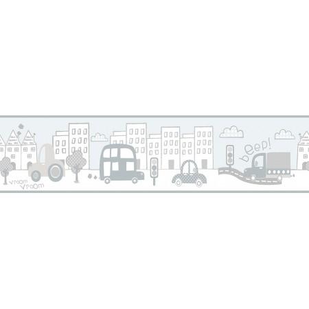Papel Pintado Cenefa Infantil coches circulando por la ciudad Grises