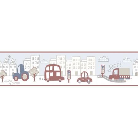 Papel Pintado Cenefa Infantil coches circulando por la ciudad tonos Nórdicos