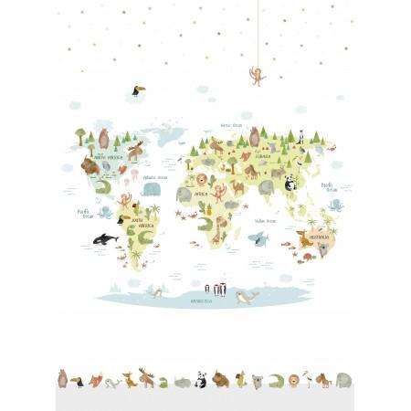 Papel Pintado Mural Infantil mapamundi con animales de diferentes paises Multicolor