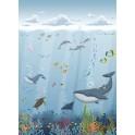 Papel Pintado Mural Infantil fondo marino tonos azules