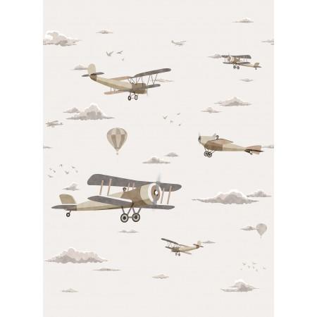 Papel Pintado Mural Infantil avionetas vintage en el cielo tonos beige