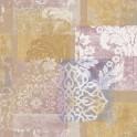 Papel pintado vinílico tela Jacard flores naranja