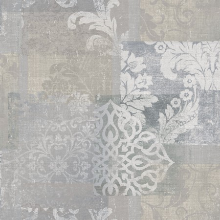 Papel pintado vinílico tela Jacard flores Gris