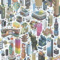 Papeles pintados de Diseño de ciudad moderna en 3D multicolores