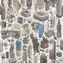 Papeles pintados de Diseño de ciudad moderna en 3D en tonos marrones