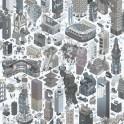 Papeles pintados de Diseño de ciudad moderna en 3Den tonos azules