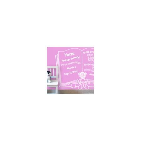 vinilos decorativos Libro nacimiento niña
