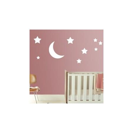 Vinilos infantiles Estrellas y luna